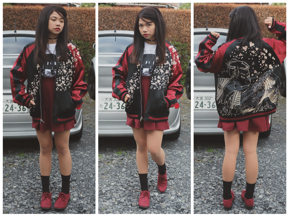 Kaila Sukajan Souvenir Jacket outfit