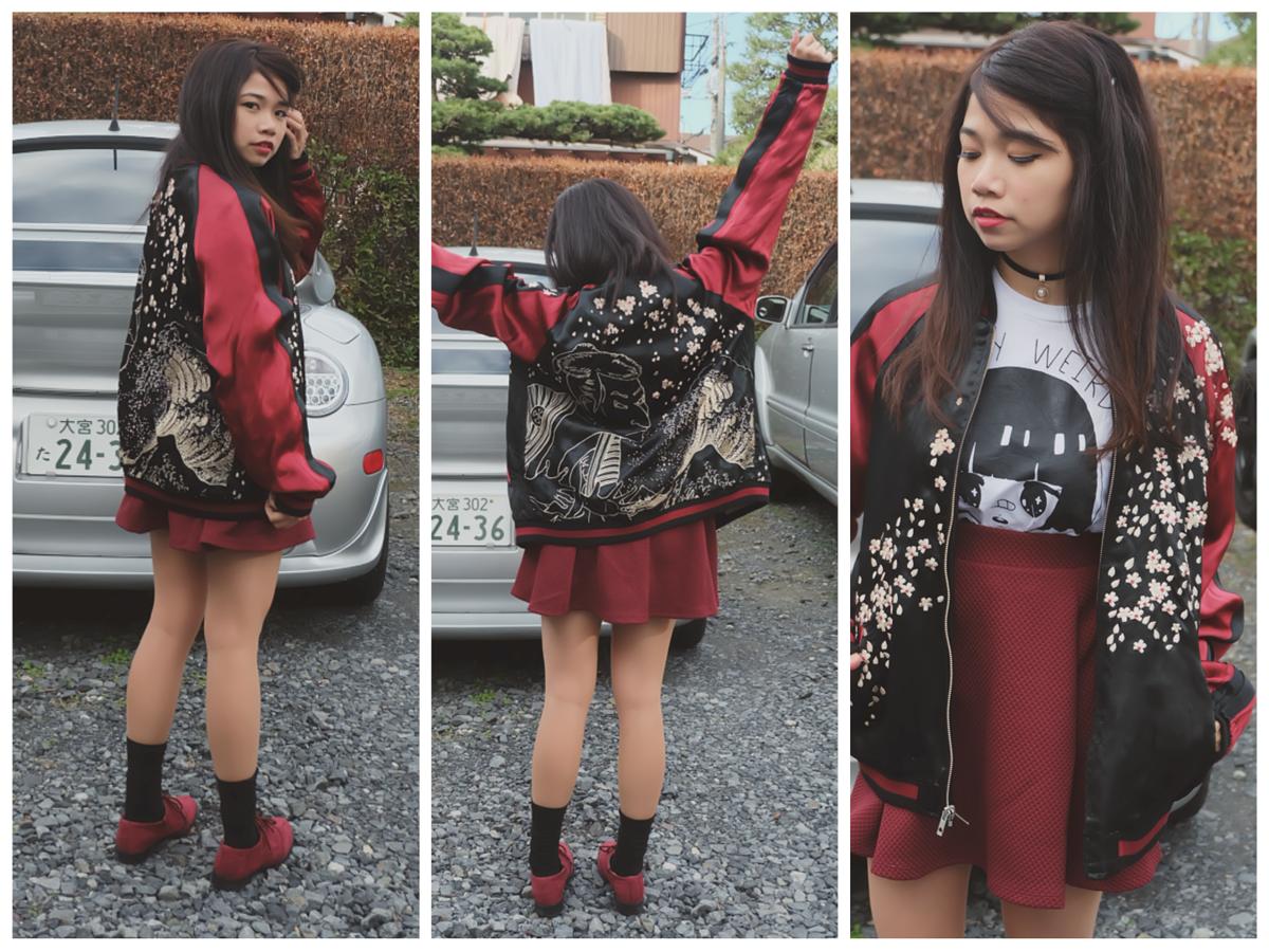 Kaila Sukajan Souvenir Jacket outfit2